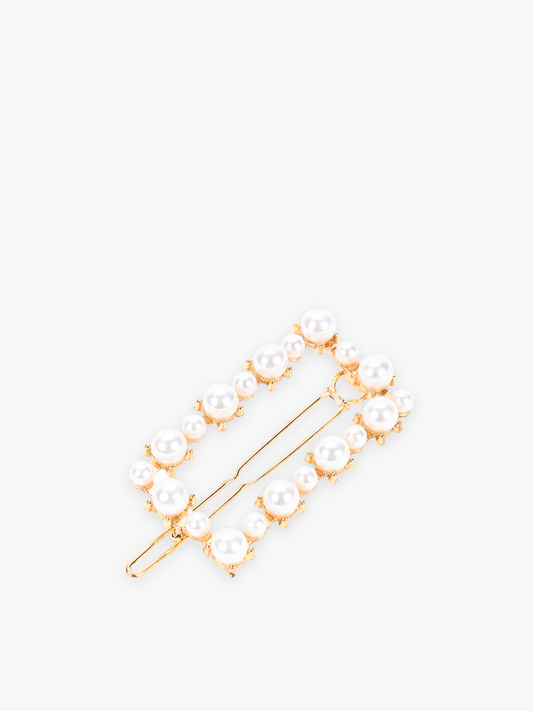 Blueberry White Pearl Embellished Square Shape Hair Clip 1
