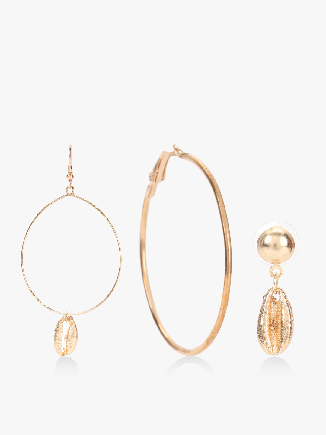 Blueberry Gold Shell Drop Hoop Earrings (Set Of 3) 1