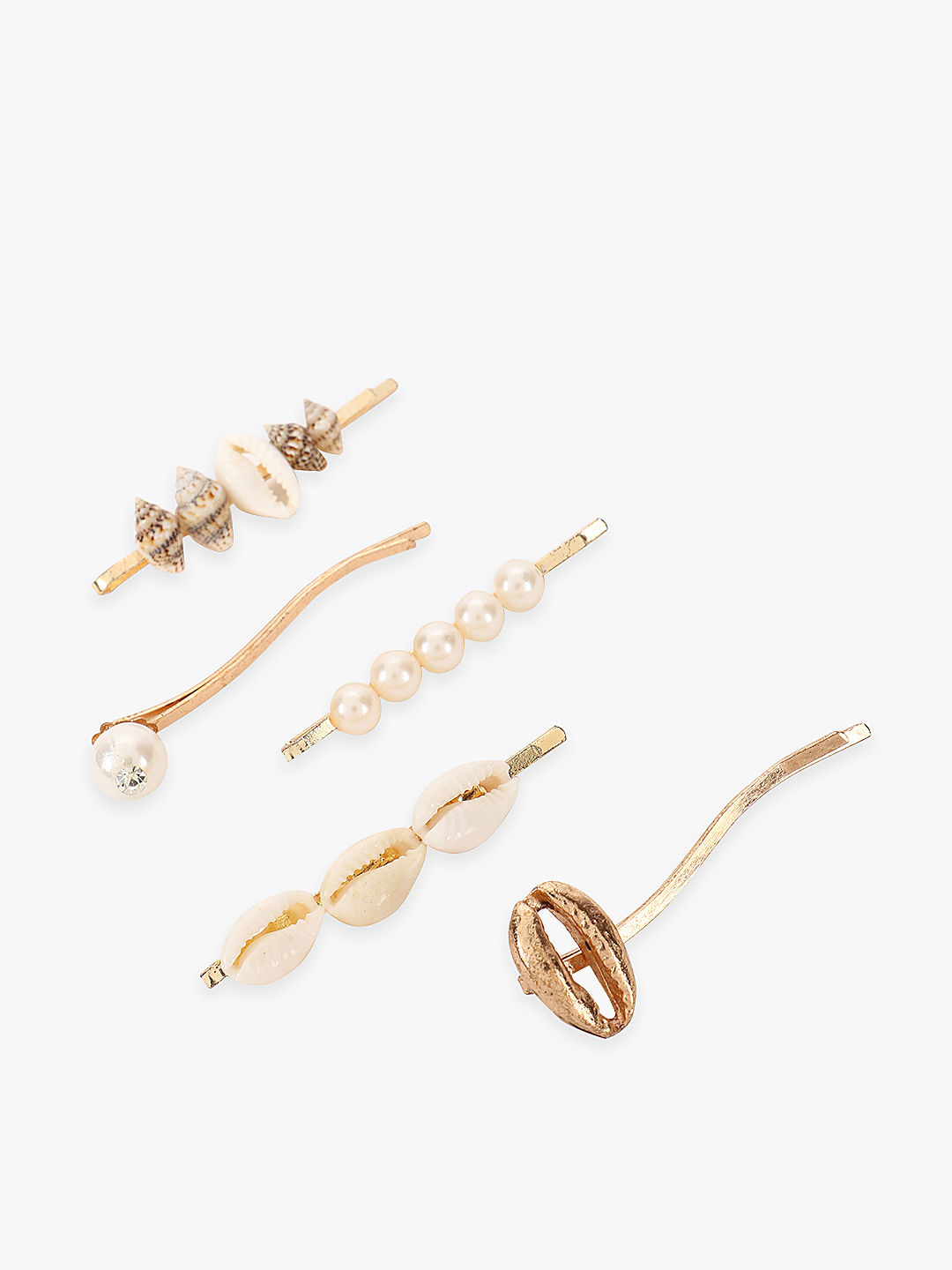 Blueberry Gold Shell & Pearl Embellished Hair Pins (Set Of 5) 1