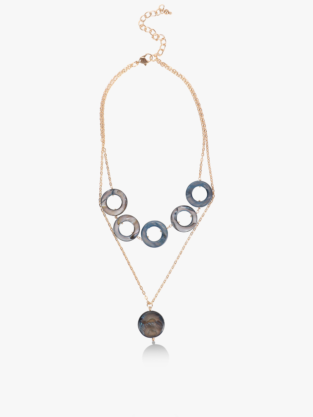 Blueberry Blue Concentric Marble Layered Necklace 1
