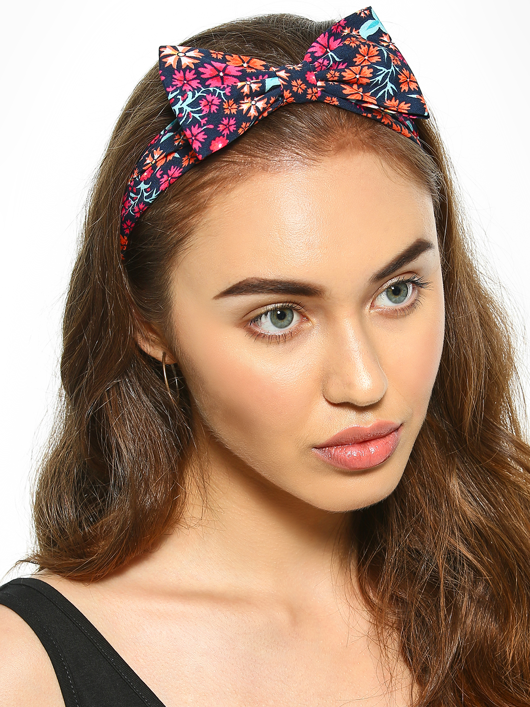Blueberry Multi Floral Print Bow Headband 1