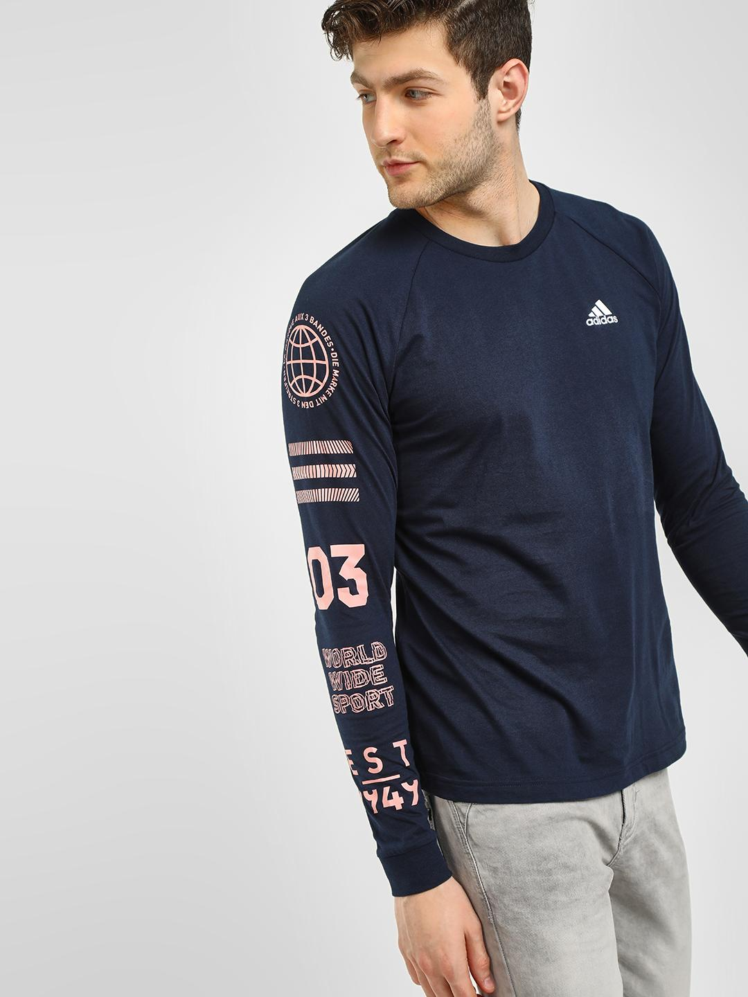 Adidas Navy Badge Sport Graphic Sleeve T-Shirt 1