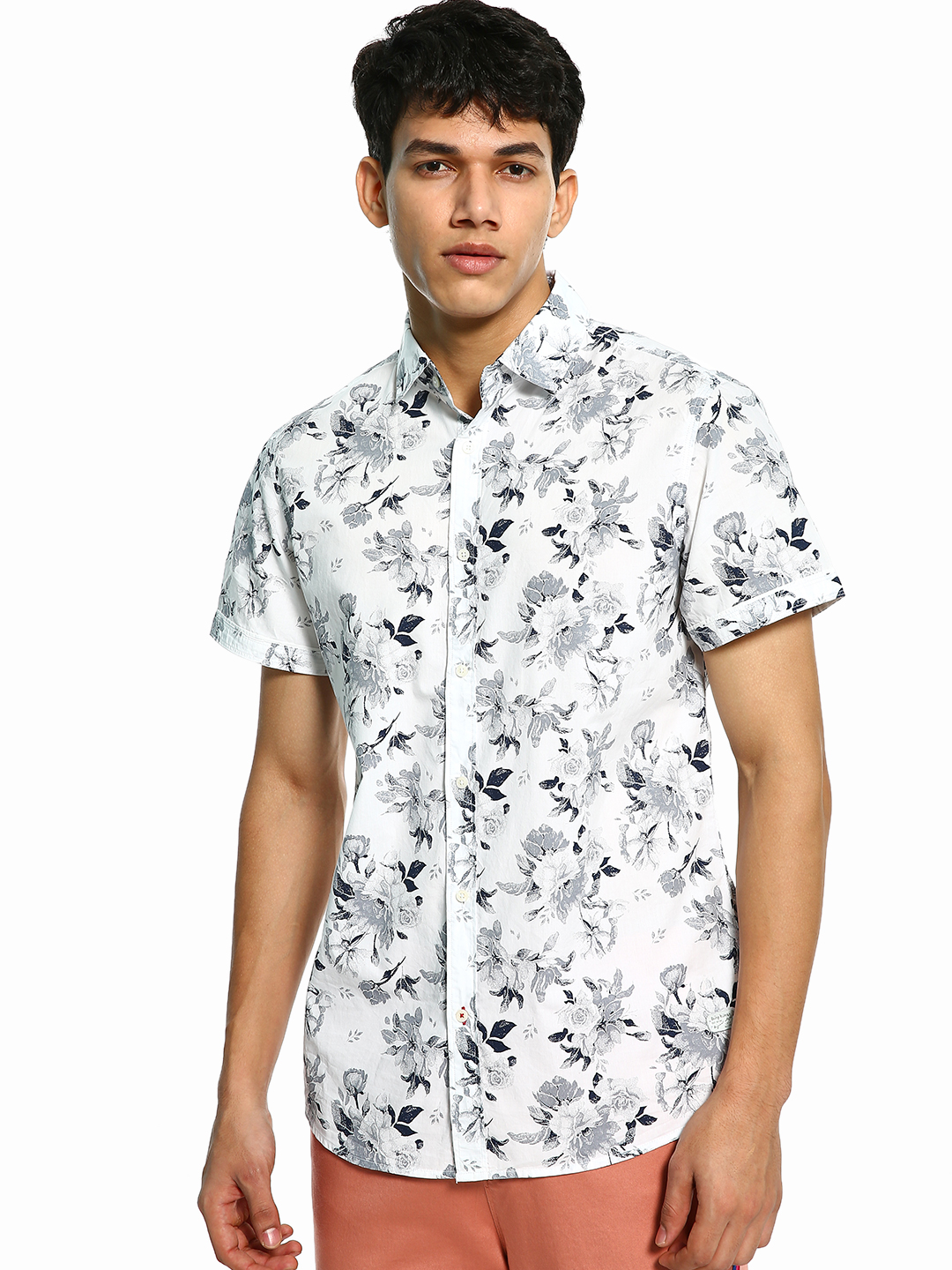 Being Human White Floral Print Short Sleeve Shirt 1