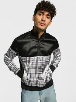 KOOVS Checked Panel Half Zip-Up Jacket