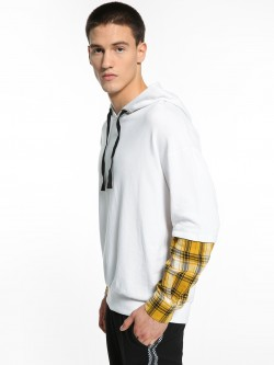 KOOVS Layered Check Sleeve Oversized Hoodie