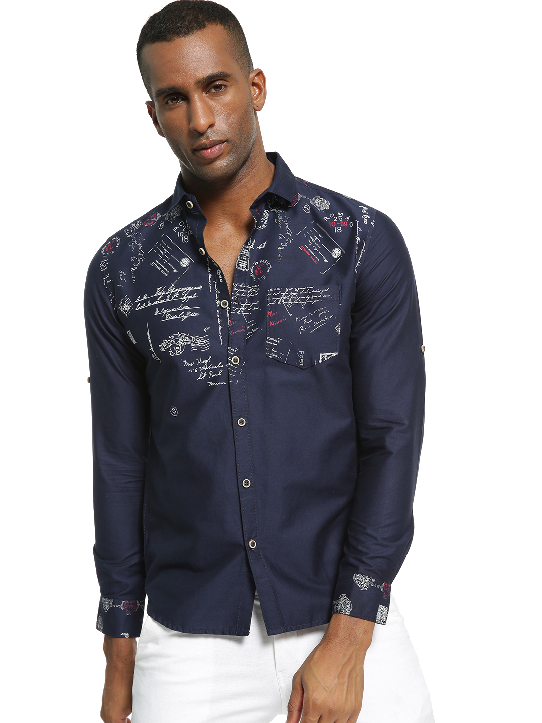 Vulcan Blue Typo Print Pocket Shirt 1