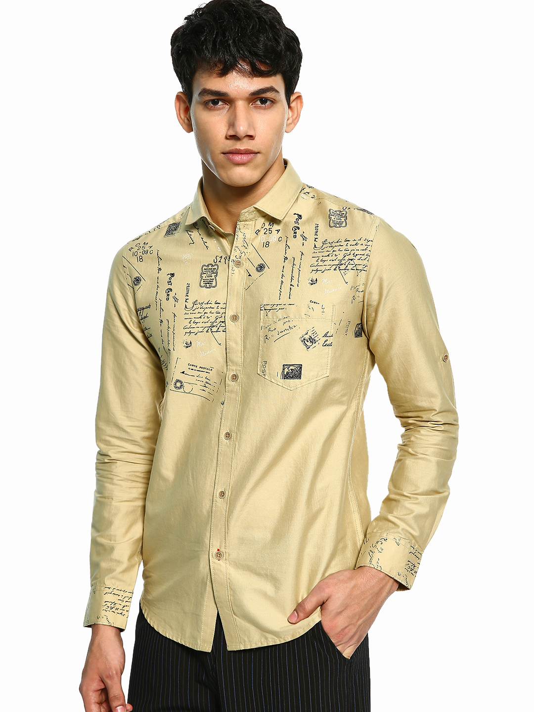 Vulcan Beige Postcard Print Long Sleeve Shirt 1