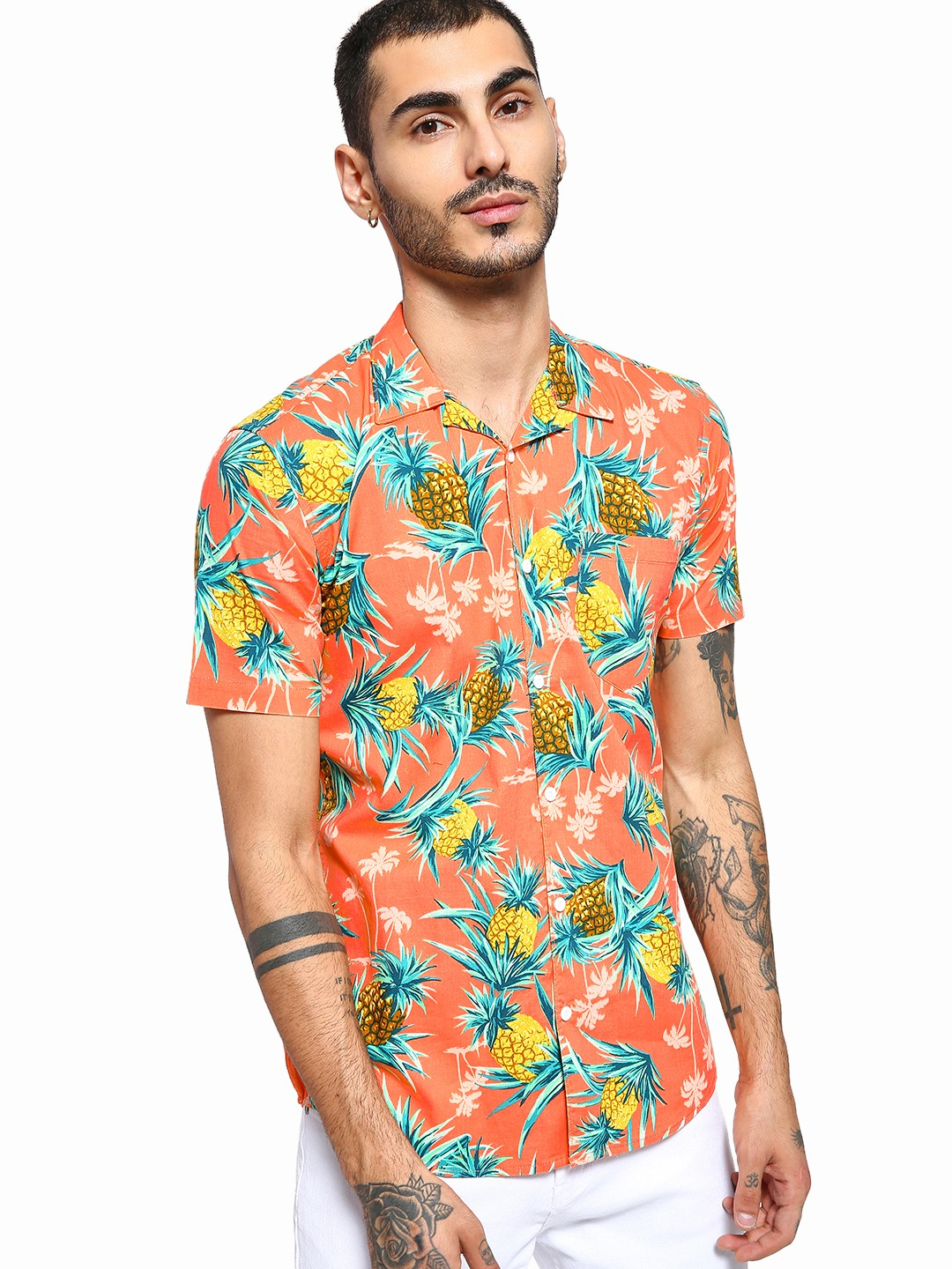 AMON Orange Tropical Pineapple Print Cuban Shirt 1