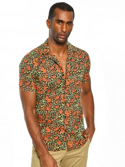 AMON Splash Print Cuban Collar Shirt