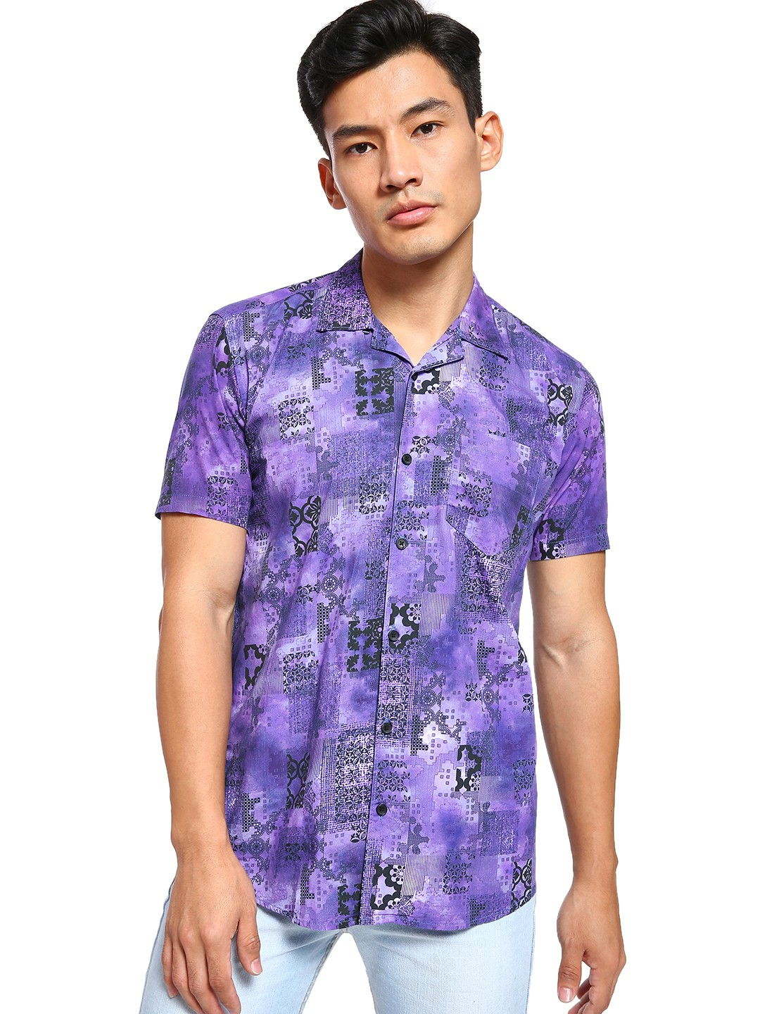 AMON Purple Tie & Dye Mix Print Cuban Collar Shirt 1