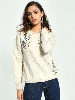 KOOVS Badge Applique Embellished Sweatshirt
