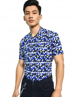 AMON Geometric Pattern Print Cuban Shirt