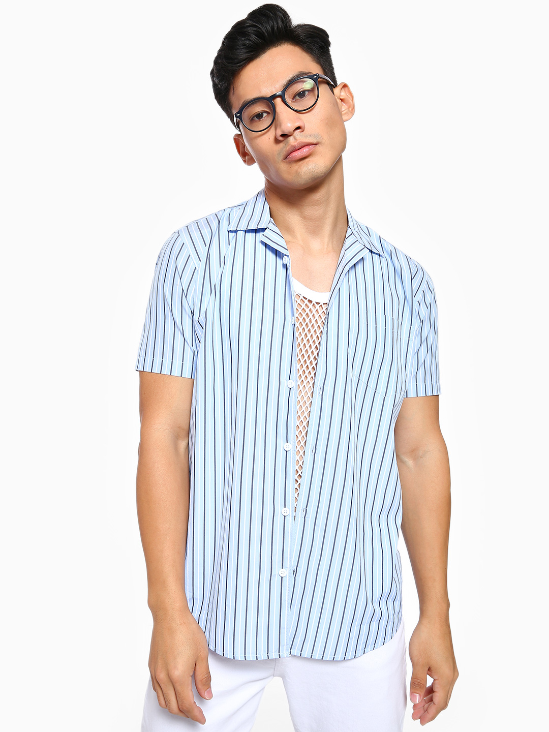 AMON Blue Vertical Stripe Cuban Collar Shirt 1