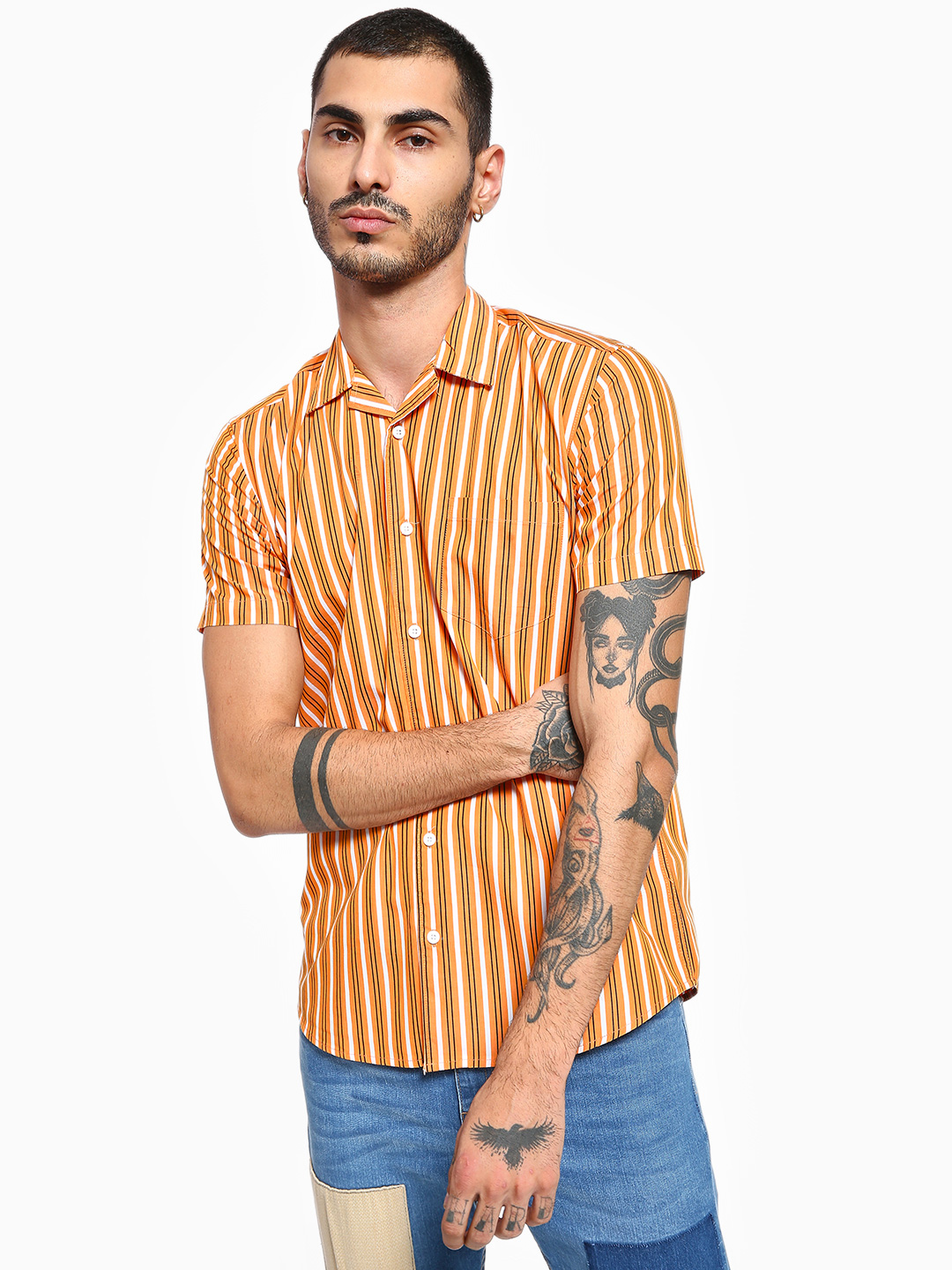 AMON Brown Vertical Stripe Cuban Collar Shirt 1