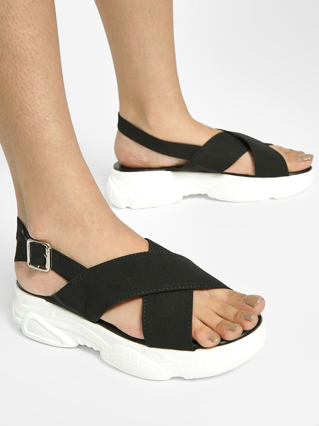 My Foot Couture Black Cross Strap Chunky Sole Sandals 1
