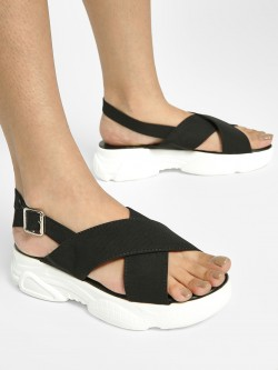 My Foot Couture Cross Strap Chunky Sole Sandals
