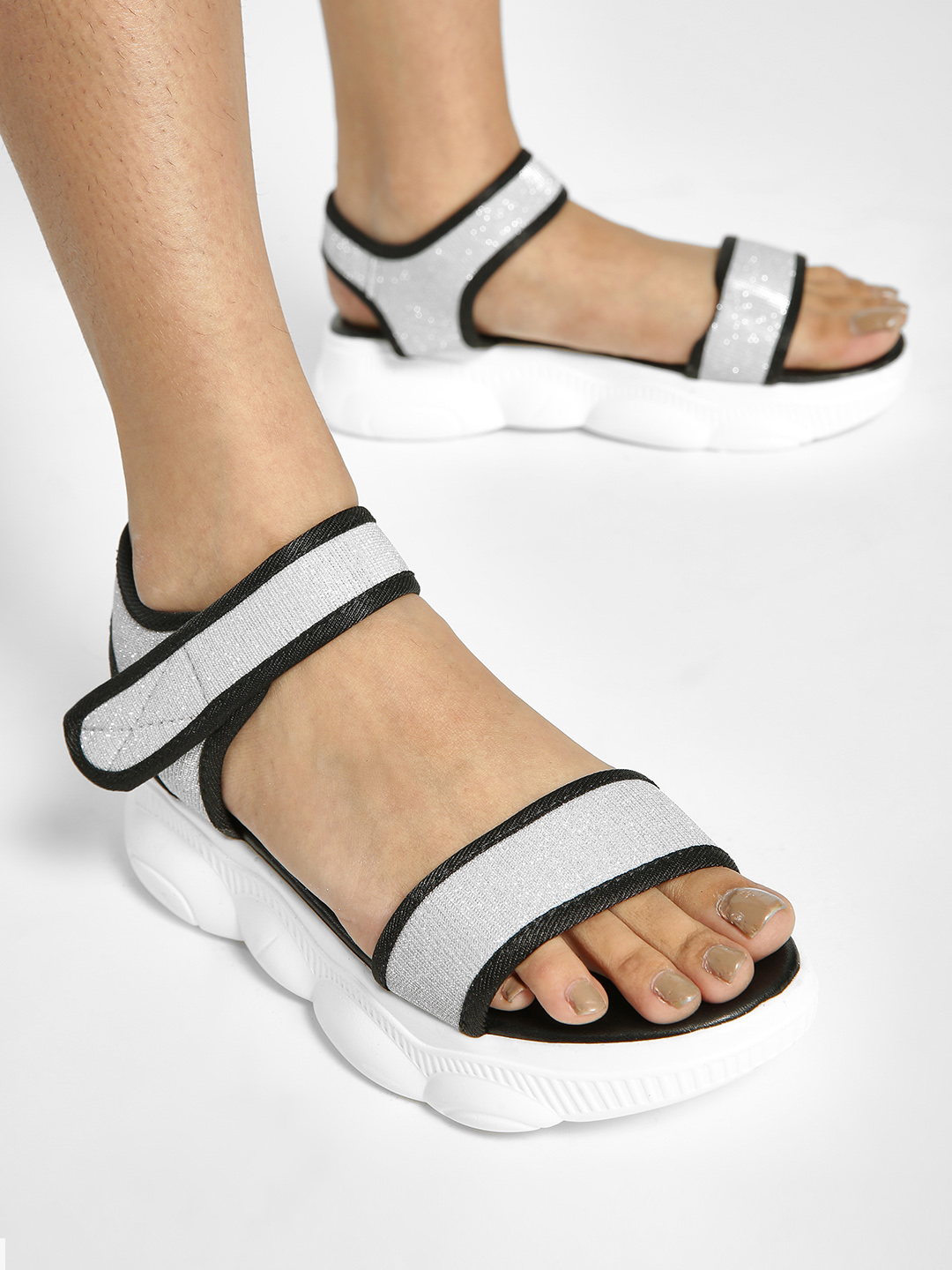 My Foot Couture Silver Broad Strap Chunky Sole Sandals 1