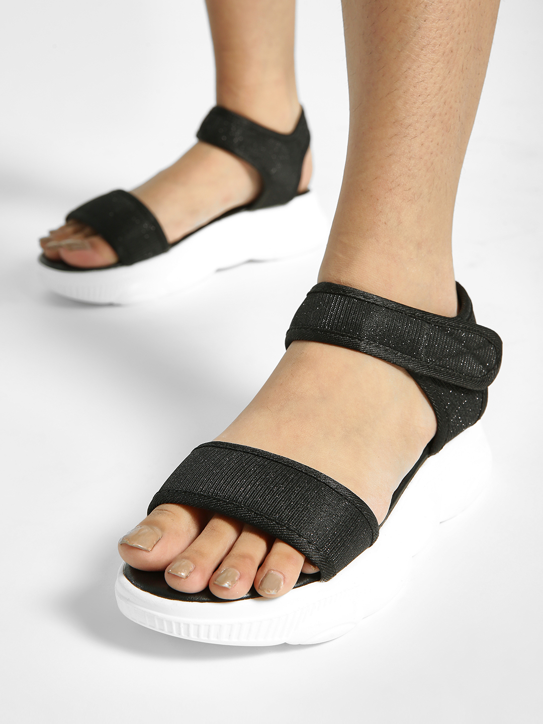 My Foot Couture Black Broad Strap Chunky Sole Sandals 1