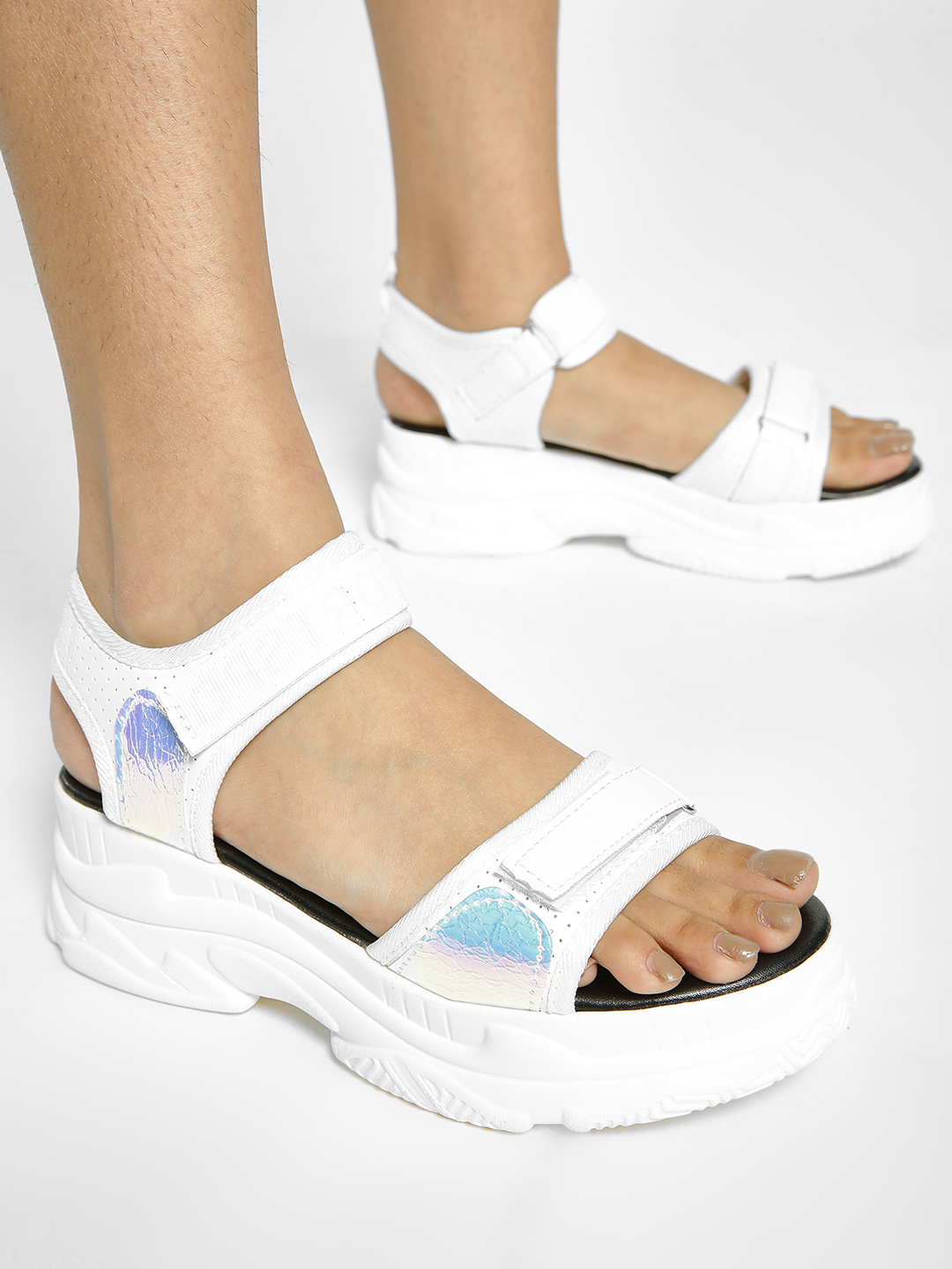 My Foot Couture White Holographic Panel Chunky Sole Sandals 1