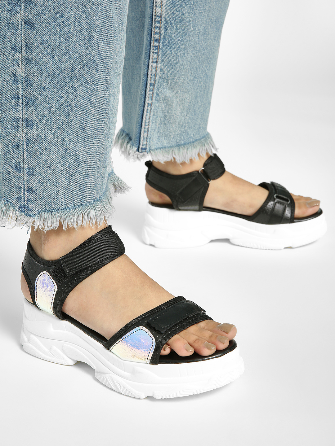 My Foot Couture Black Holographic Panel Chunky Sole Sandals 1