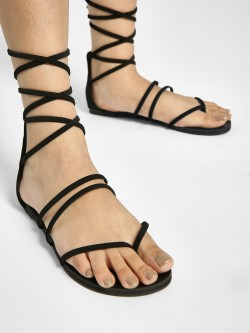 My Foot Couture Strappy Tie Up Flat Sandals