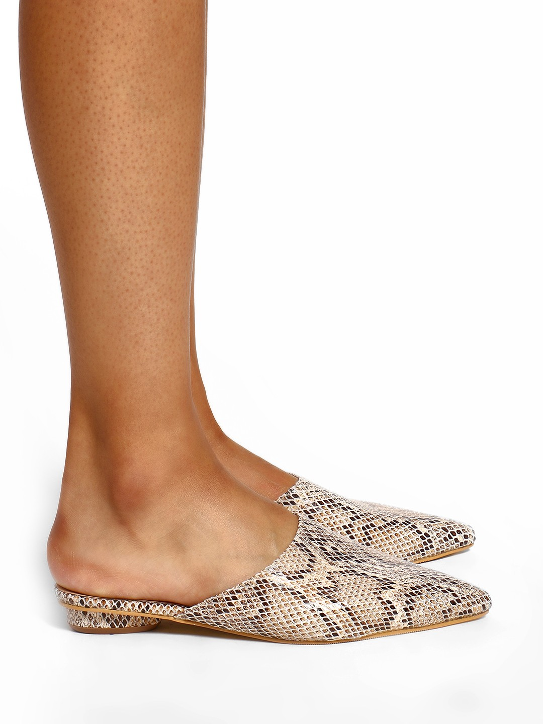Sole Story Brown Snake Print Flat Mules 1