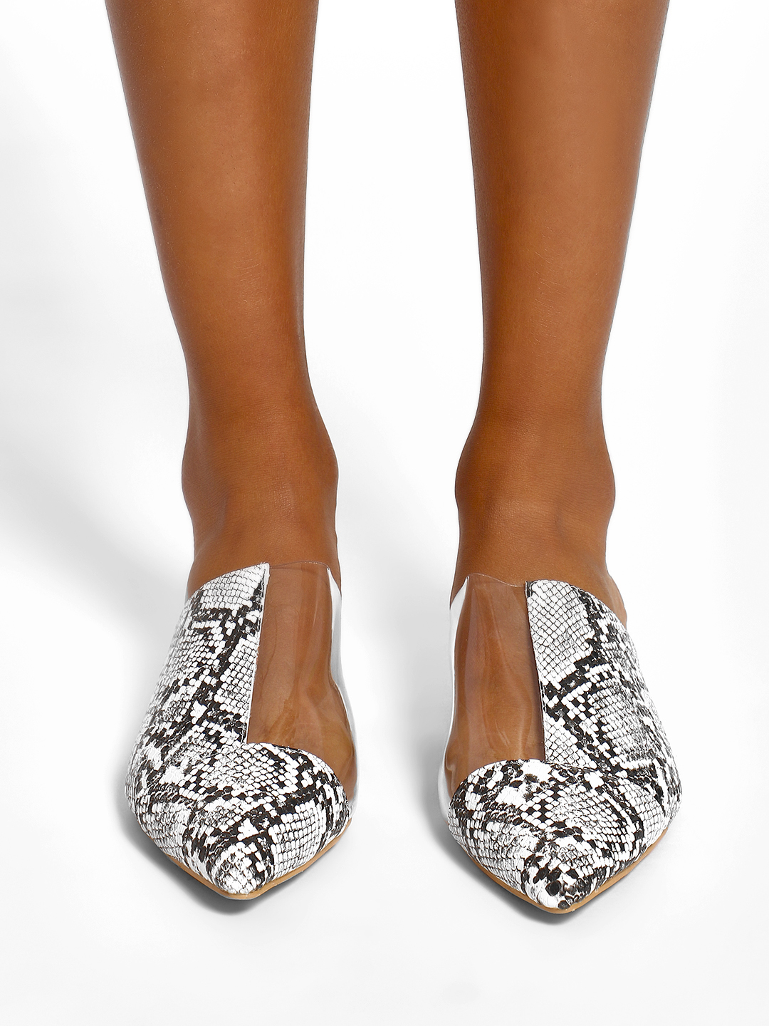 Sole Story White Snake Print Perspex Mules 1