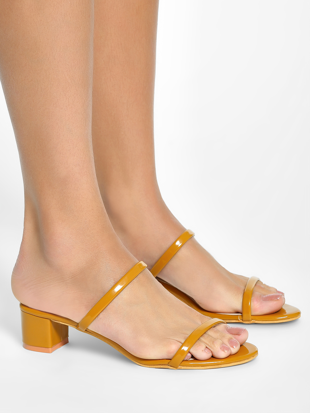 My Foot Couture Mustard Low-Rise Heeled Sandals 1
