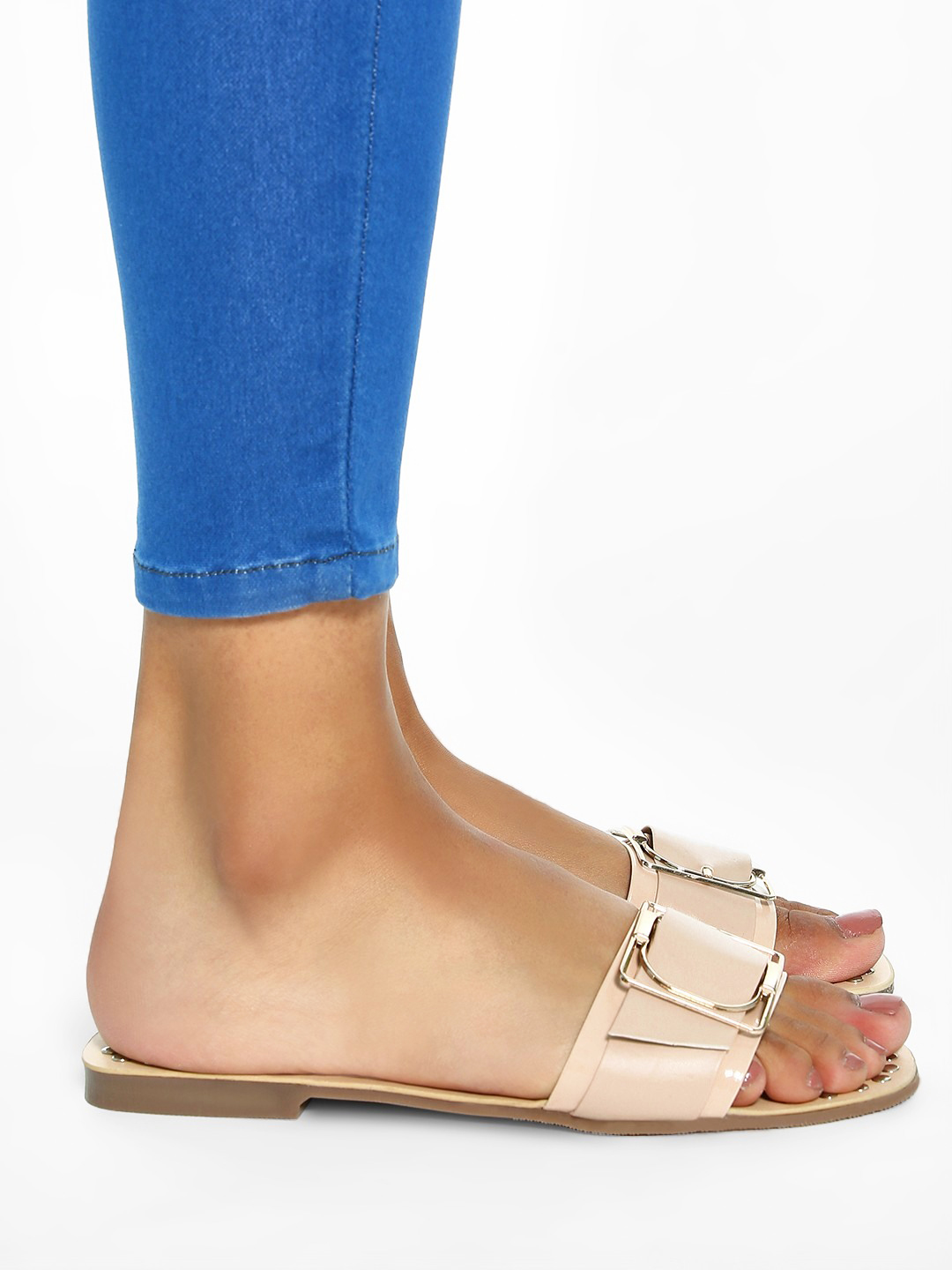 My Foot Couture Beige Buckle Strap Studded Flat Sandals 1