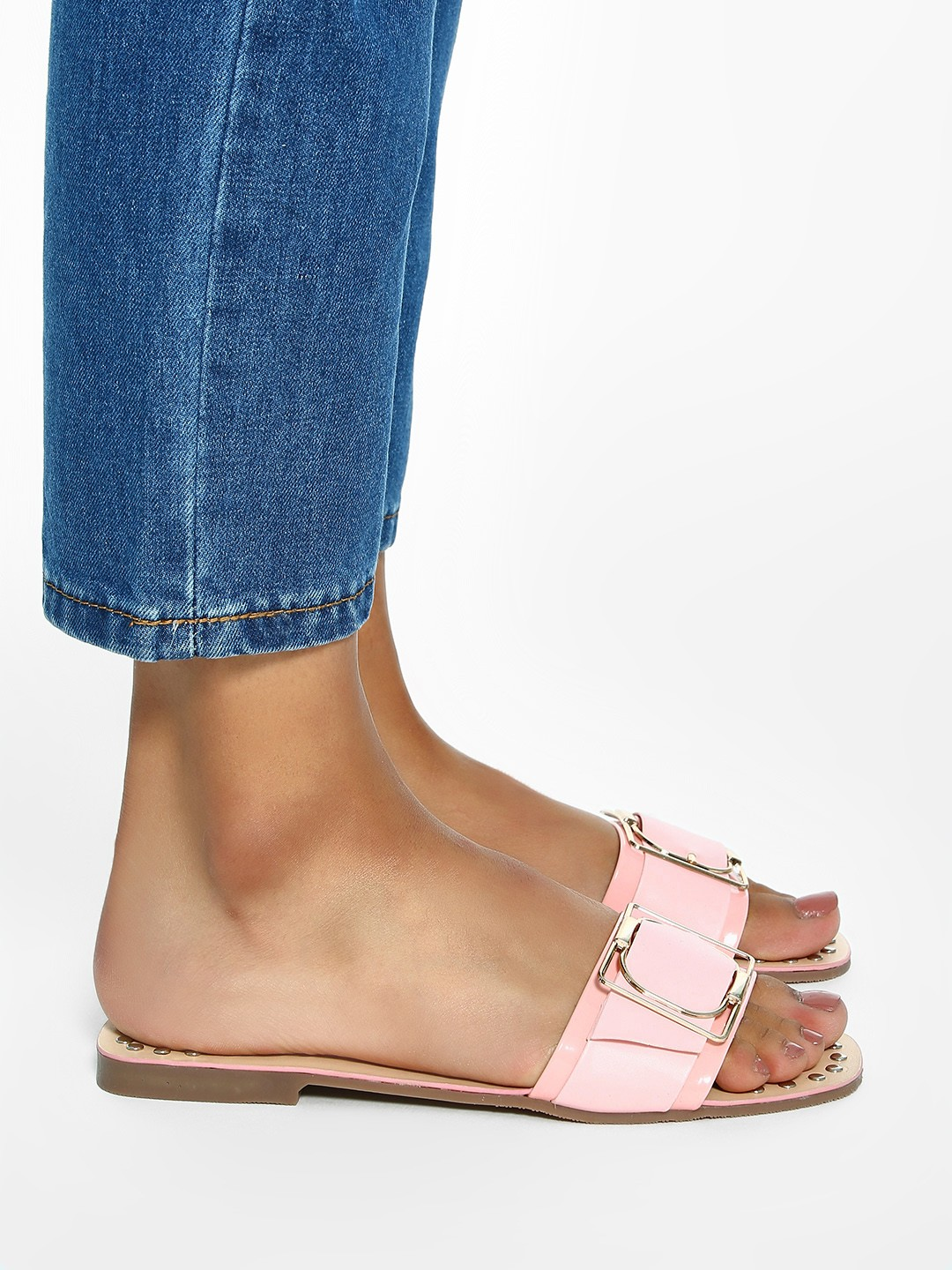 My Foot Couture Pink Buckle Strap Studded Flat Sandals 1