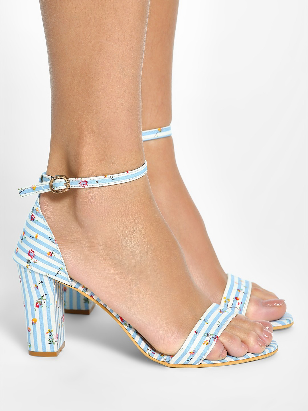 My Foot Couture Blue Floral Print Stripe Block Heeled Sandals 1