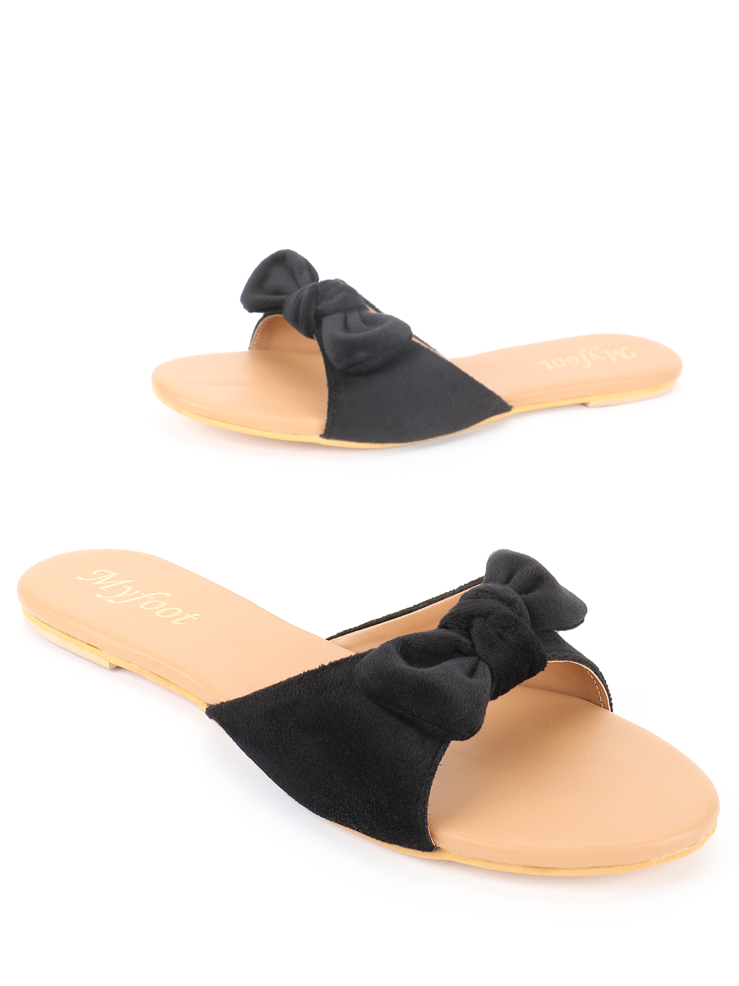 My Foot Couture Black Velour Bow Tie Flat Sandals 1