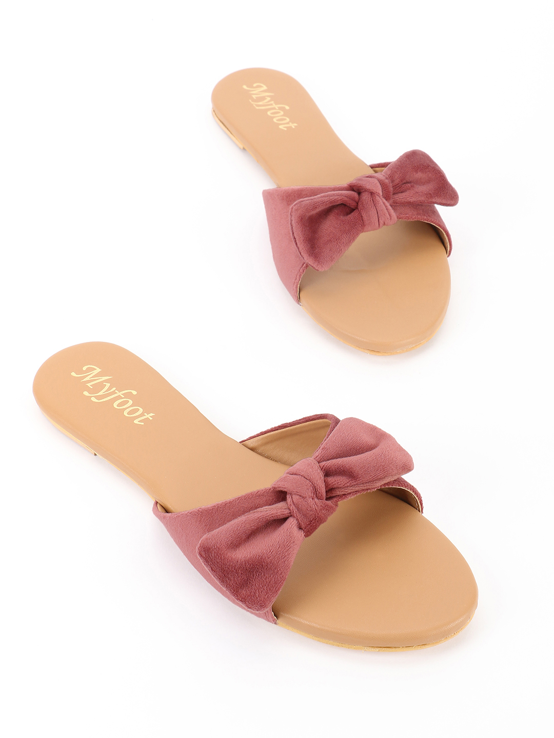 My Foot Couture Pink Velour Bow Tie Flat Sandals 1
