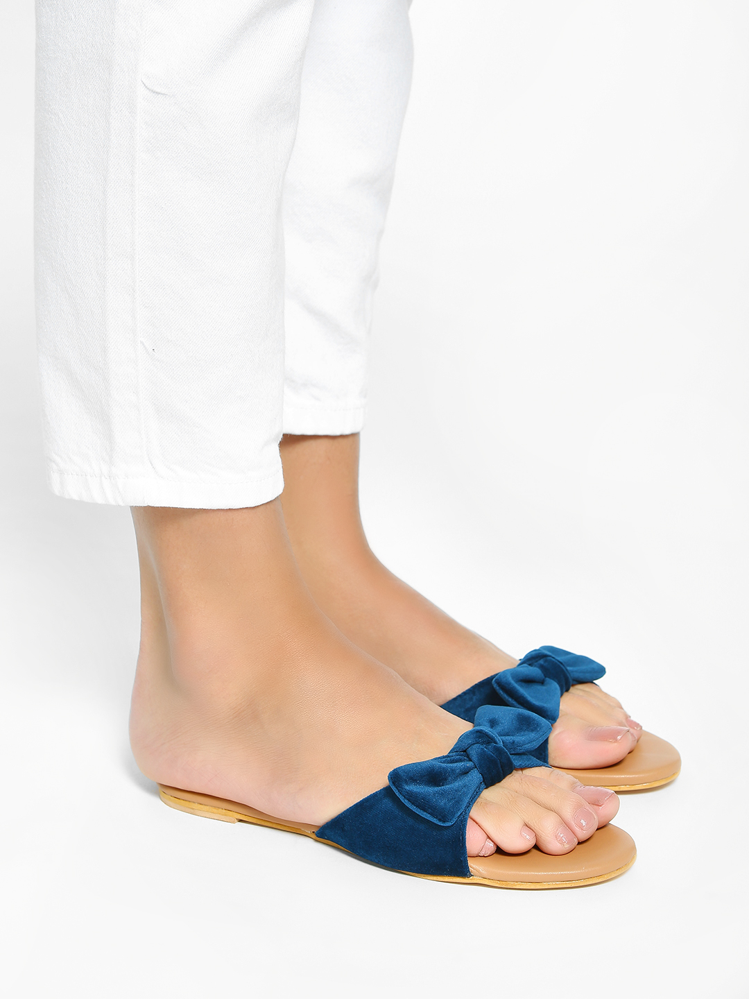 My Foot Couture Blue Velour Bow Tie Flat Sandals 1