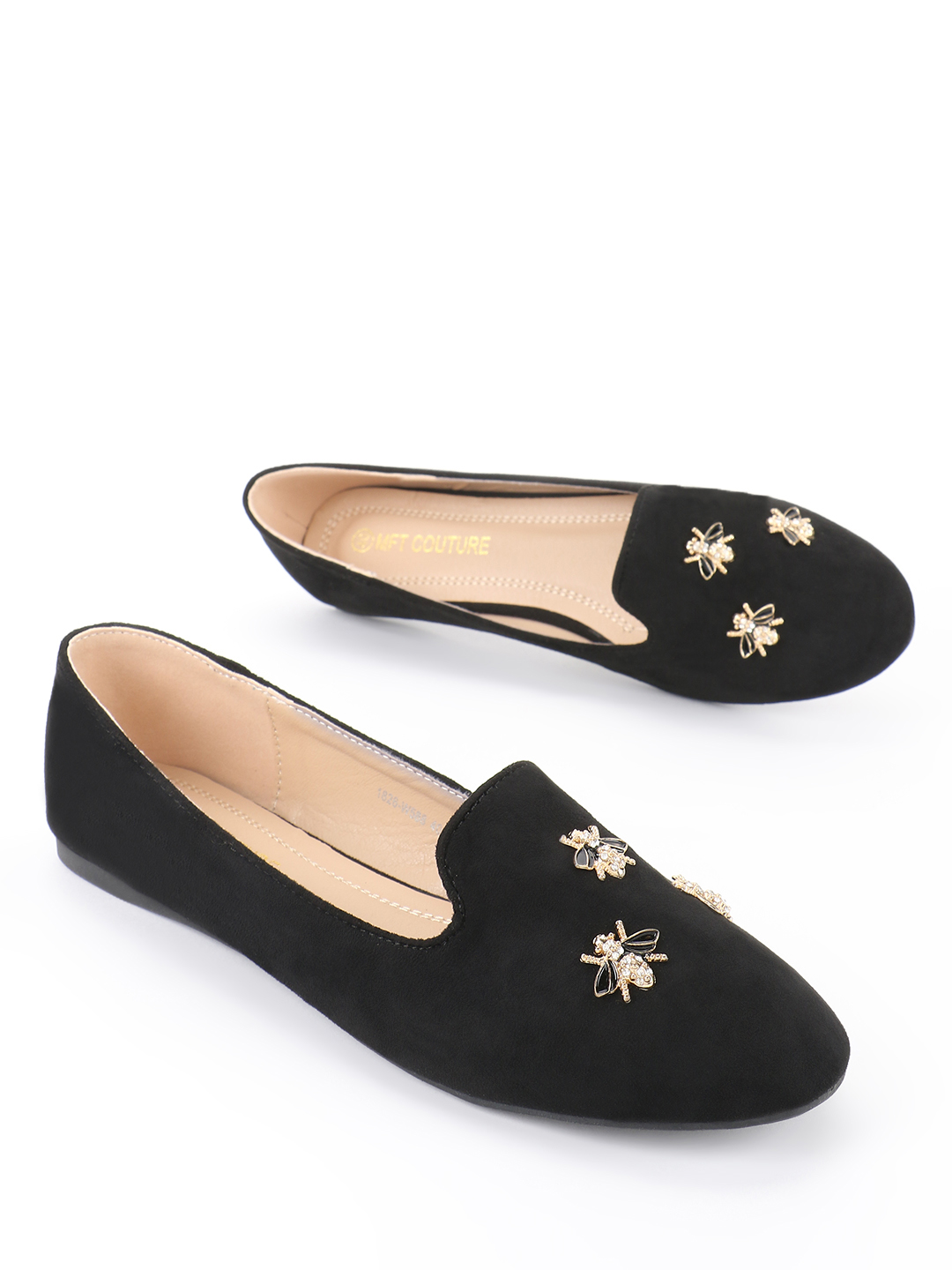 My Foot Couture Black Suede Bee Embellished Flat Shoes 1