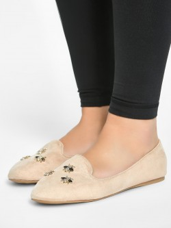 My Foot Couture Suede Bee Embellished Flat Shoes