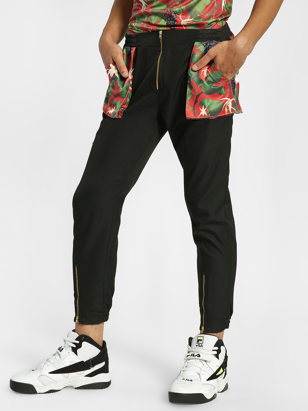 Shivan & Narresh X KOOVS Black Vineyard Print Utility Joggers 1