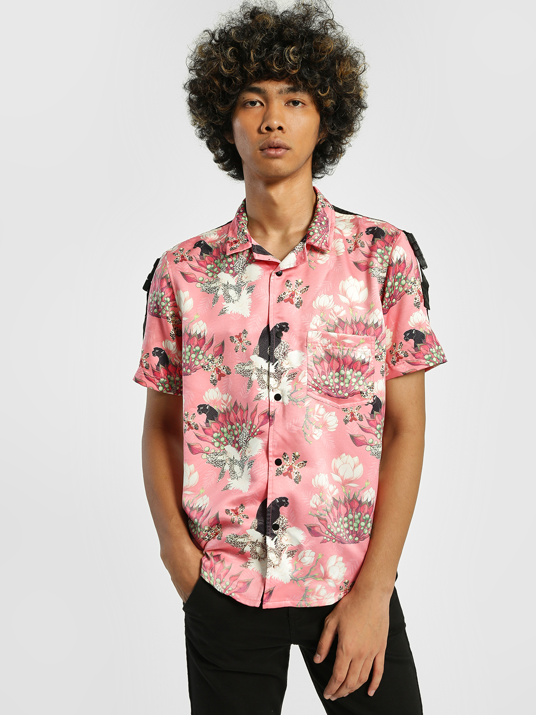 Shivan & Narresh X KOOVS Multi Magnolia Flower Print Cuban Collar Shirt 1