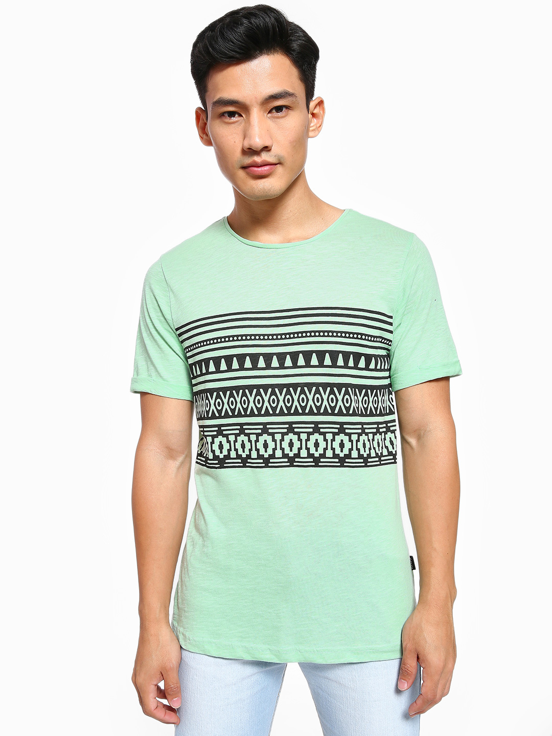 Rigo Green Tribal Placement Print T-Shirt 1
