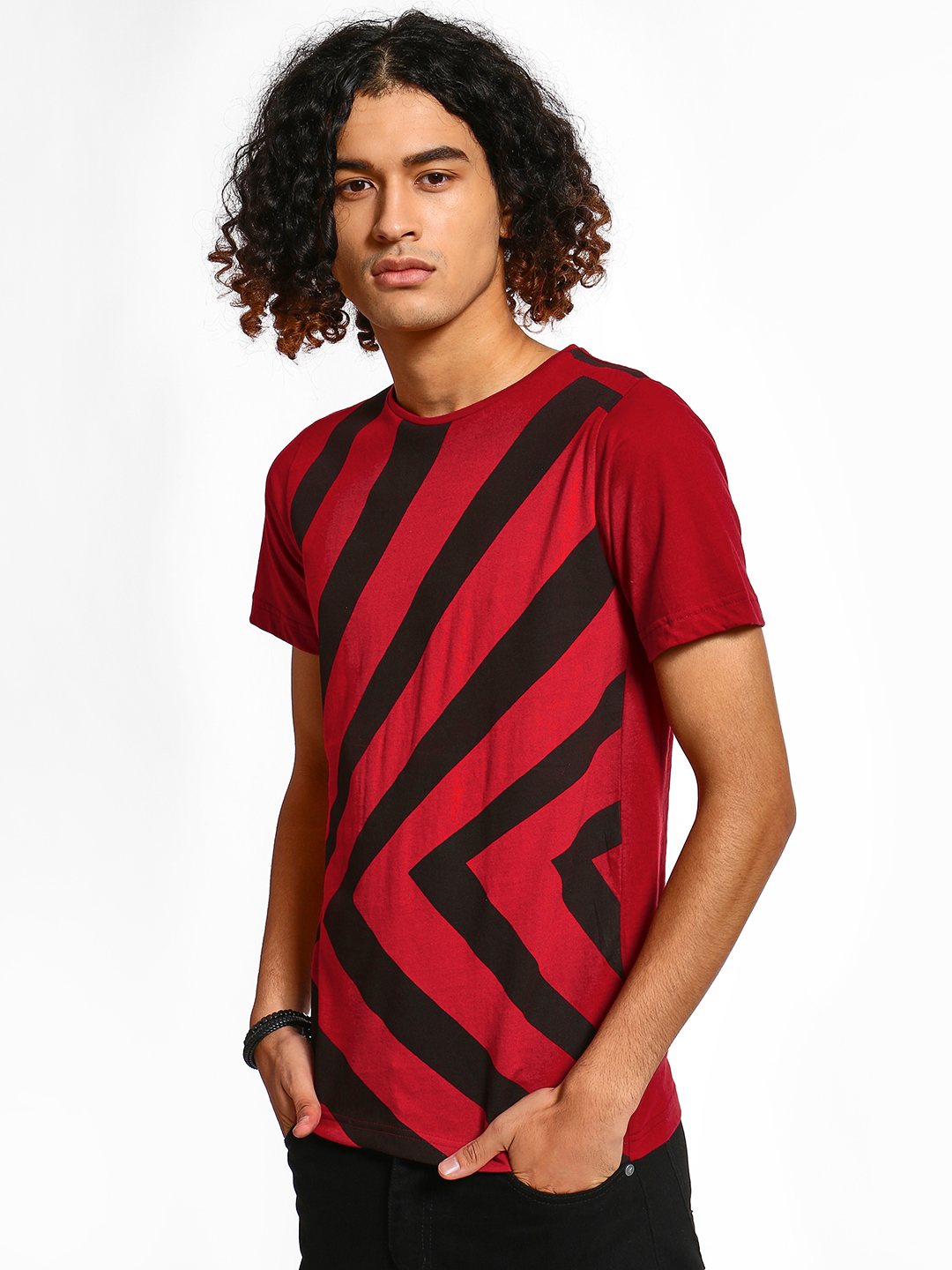 Rigo Red Chevron Stripe Print T-Shirt 1