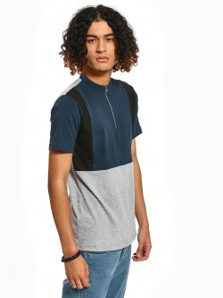 Rigo Colour Block Zip-Up T-Shirt