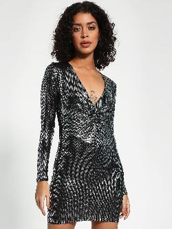 New Look Sequined Plunge Neck Bodycon Dress
