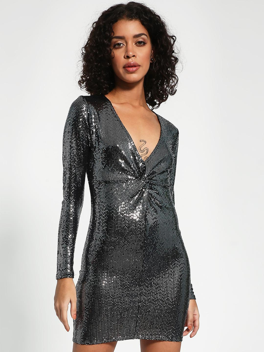 New Look Silver Sequin Plunge V-Neck Bodycon Dress 1