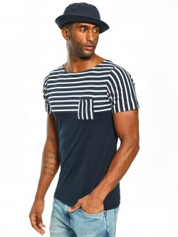 Rigo Stripe Cut & Sew Panelled T-Shirt