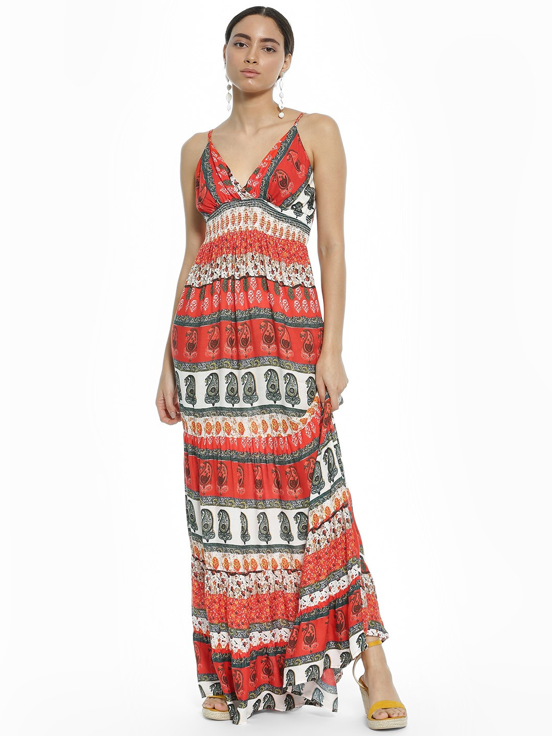Kisscoast Multi Paisley Print Smocked Maxi Dress 1