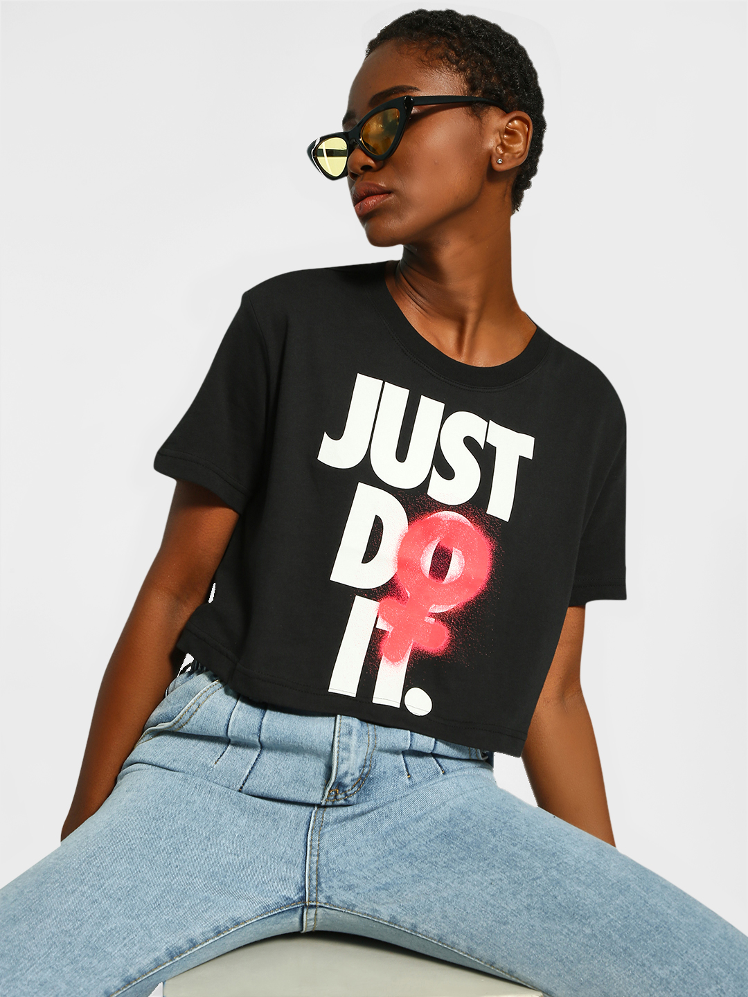 Nike Black Slogan Spray Print Cropped T-Shirt 1