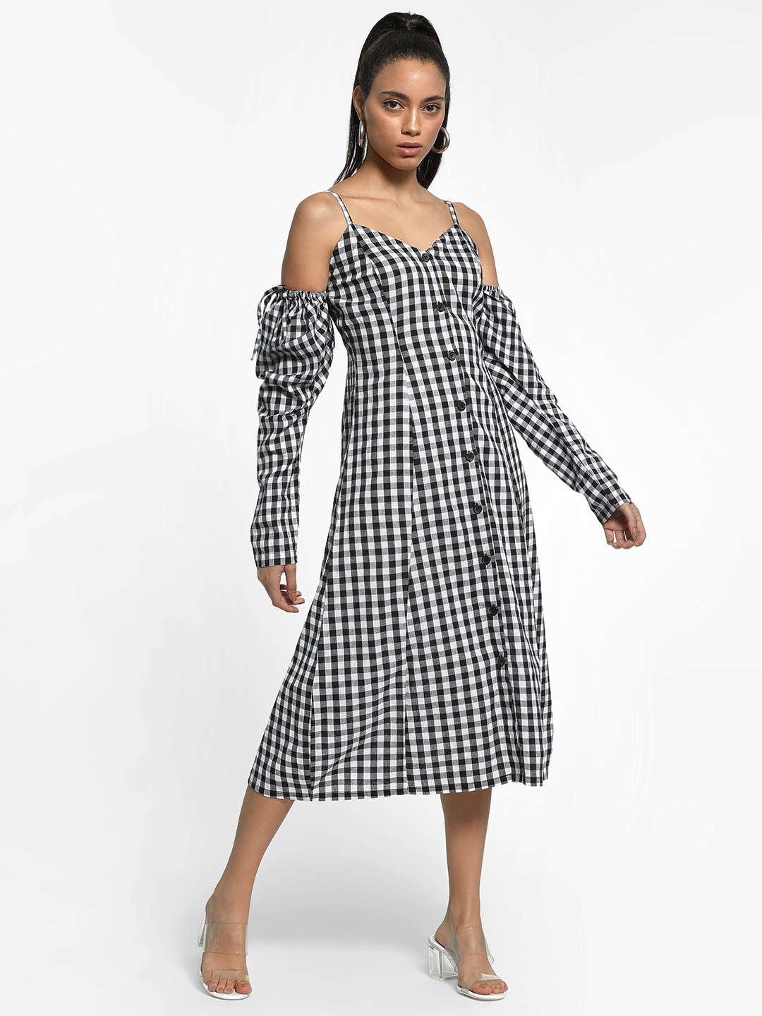 KOOVS Multi Gingham Check Cold Shoulder Dress 1