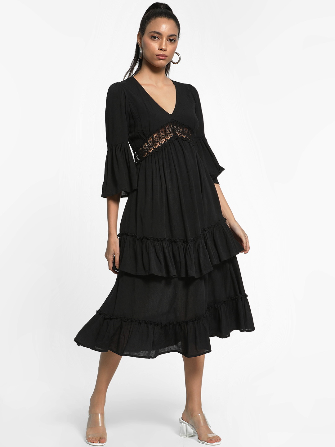 KOOVS Black Lace Detail Ruffled Midi Dress 1