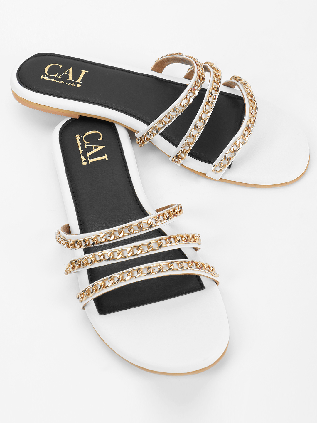 CAi White Chain Detail Strap Flat Sandals 1