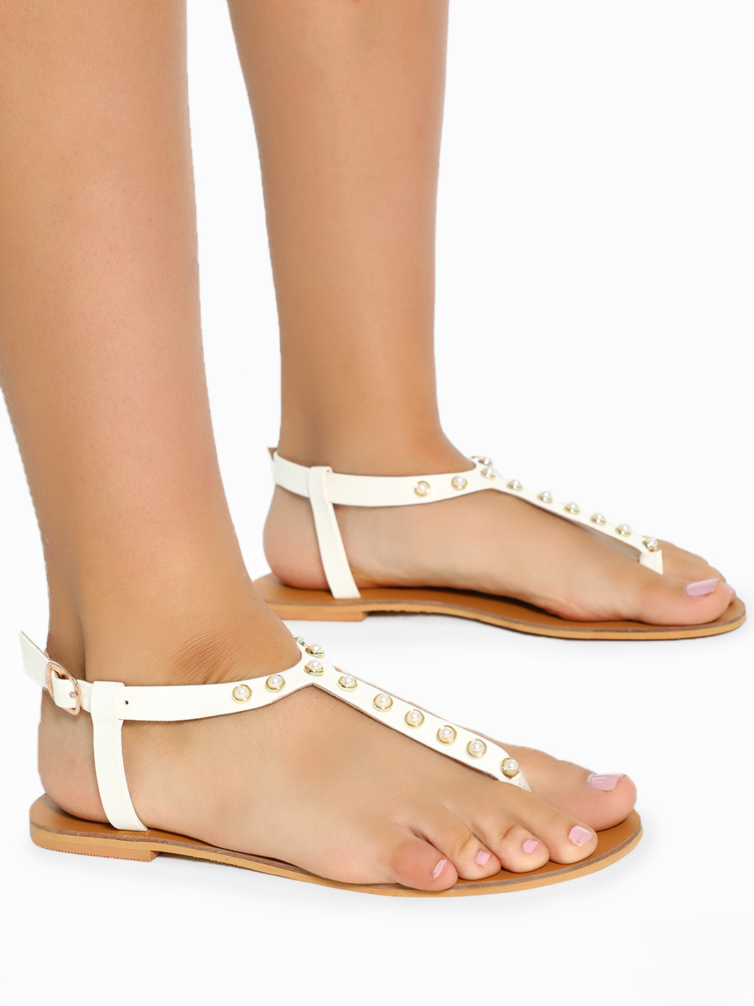 CAi White Pearl Embellished T-Strap Sandals 1